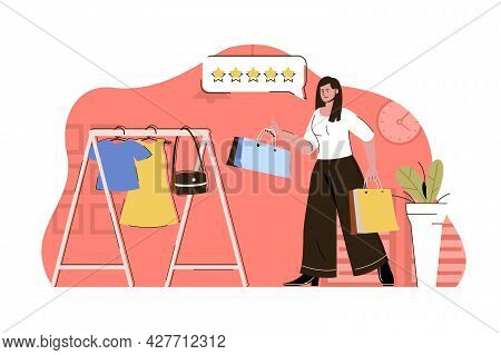 Shopping Time Concept. Woman Buys Clothes In Boutique Situation. Buyer Makes Purchases Clothing In S