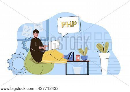 Software Development Concept. Programmer Writes Code, Develops Programs Situation. Developer Working