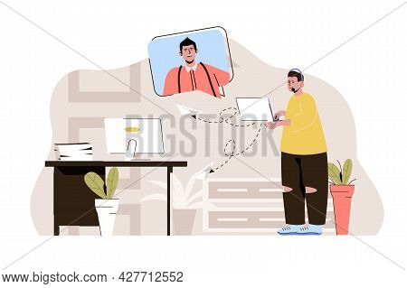 Tech Support Concept. Operator Call Center Consults Man In Video Chat Situation. Solving Technical P