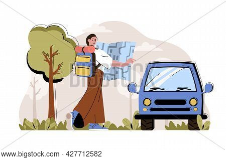Travel Impressions Concept. Woman With Backpack Goes On Trip By Car Situation. Vacation, Tourism, Ad