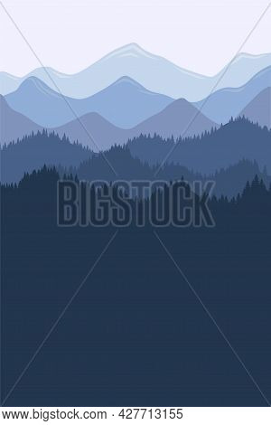 Mountain Range Morning Landscape With Fog And Forest. Sunrise And Sunset In Mountains Poster. Vector