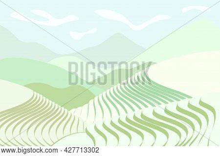 Rice Field Poster. Chinese Agricultural Terraces In Mountains Landscape. Foggy Rural Farmland Scener