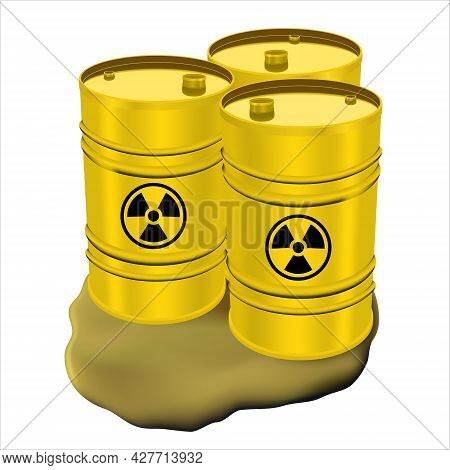 Three Yellow Metal Drums With Radioactive Waste And Spilled Liquid. Pollution Concept. Keg For Toxic