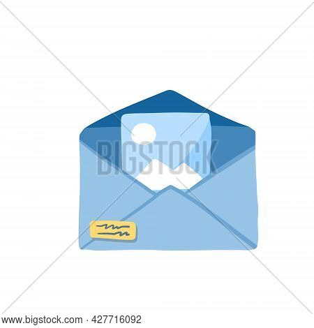 Email With Attachment. Online Document Management. Attached File With Image. Flat Cartoon Illustrati
