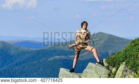Girl Military Warrior Rifle. Observing Point. Woman Military Outfit Hold Weapon Highlands Background