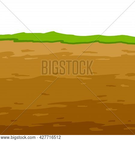 Land In The Section. Geological Layer. Archaeological Scenery. Brown Ground. Dirt Clay And Green Gra