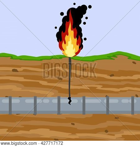 Gas Pipeline Breakthrough. Pipe In Underground. Accident On Oil Pipeline. Environmental Problem. Fla
