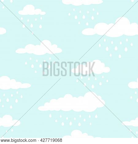 Seamless Background With White Clouds And Raindrops On Blue Sky. Overcast Pattern. Vector Illustrati
