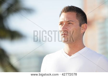 Stock image of a handsome man outside