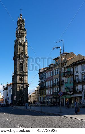 Porto, Portugal - December 01, 2019: Clerigos Tower In The Old Town Of Porto, Portugal