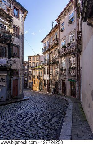 Porto, Portugal - December 01, 2019: Street In The Old Town Of Porto, Portugal