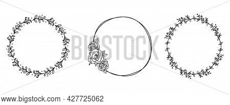 Hand Drawn Floral Wreaths Set In Cute Doodle Style On Transparent Background. Vector Llustration For