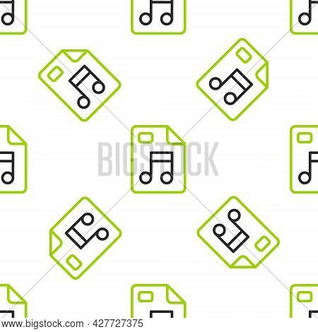 Line Mp3 File Document. Download Mp3 Button Icon Isolated Seamless Pattern On White Background. Mp3