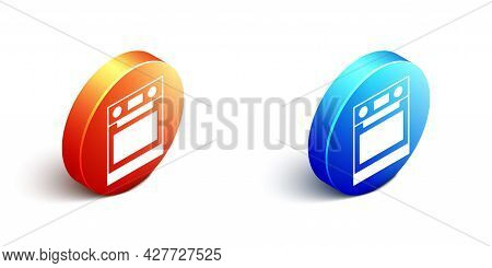 Isometric Oven Icon Isolated On White Background. Stove Gas Oven Sign. Orange And Blue Circle Button
