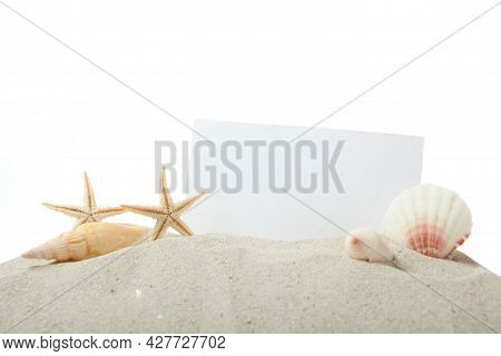 Sand, Shells And Starfish Isolated On White. Place For Text, Travel, Sea.