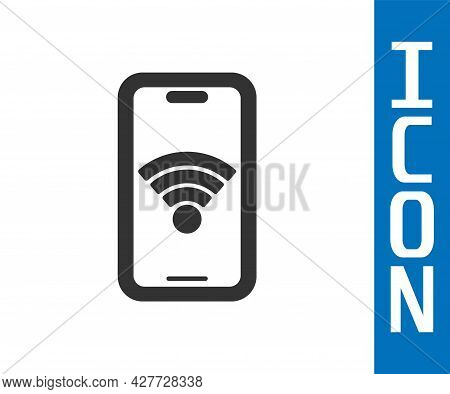 Grey Smartphone With Free Wi-fi Wireless Connection Icon Isolated On White Background. Wireless Tech