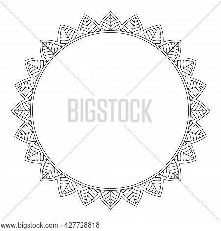 Round Decorative Frame On White Background, Vector Illustration
