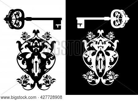 Vintage Style Ornate Keyhole And Skeleton Key - Rose Flowers Ornate Black And White Vector Silhouett