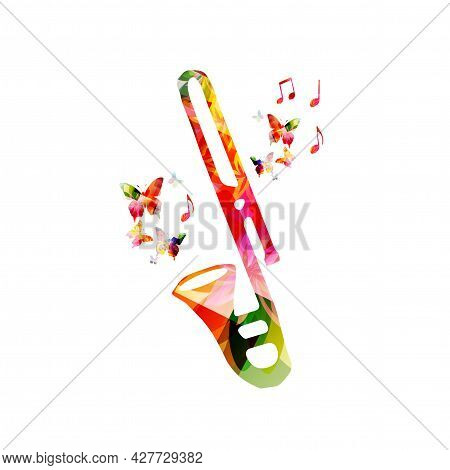 Trombone With Musical Notes Isolated For Live Concert Events, Jazz Music Festivals And Shows, Party