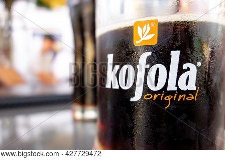 Karvina, Czech Republic - September 13, 2020: The Glass Of Czech Kofola Beverage Which Resembles Var