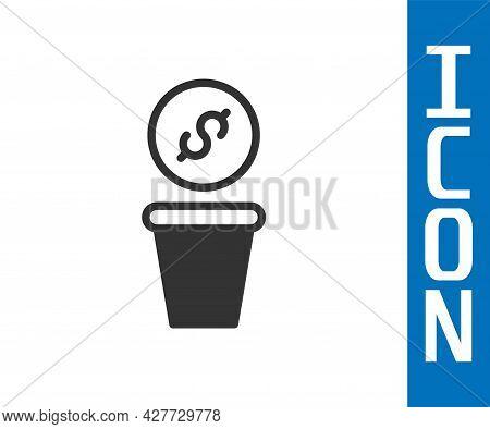 Grey Donation Money Icon Isolated On White Background. Hand Give Money As Donation Symbol. Donate Mo