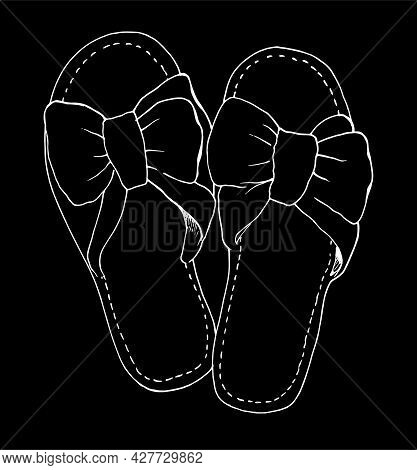 Women's Slippers. Hand-drawn Home Slippers With Bows In A Sketch Style, An Isolated Contour Of White
