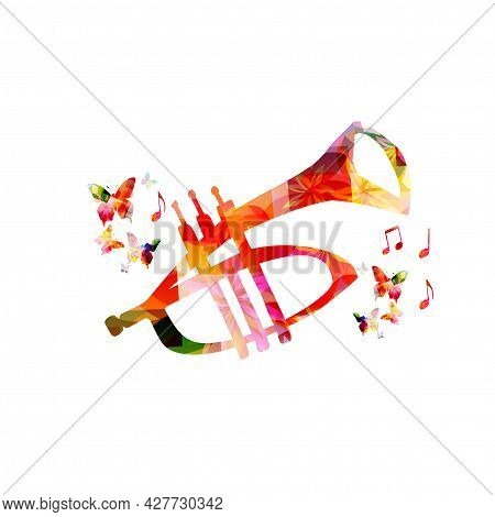 Trumpet With Musical Notes Isolated For Live Concert Events, Jazz Music Festivals And Shows, Party F