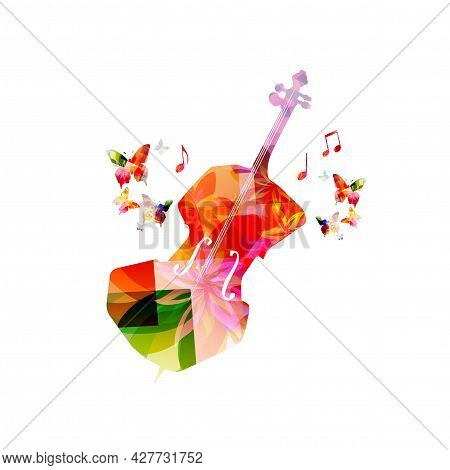 Violoncello With Musical Notes Isolated For Live Concert Events, Jazz Music Festivals And Shows, Par