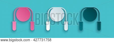 Paper Cut Jump Rope Icon Isolated On Blue Background. Skipping Rope. Sport Equipment. Paper Art Styl
