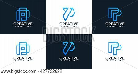 Set Of Geometric Abstract Monogram Letter P Logo Design Elements Concept . Logo Can Be Used For Icon