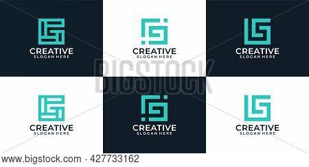 Set Of Abstract Modern Elegant Line Monogram Letter G Logo Elements Inspiration. Logo Can Be Used Fo