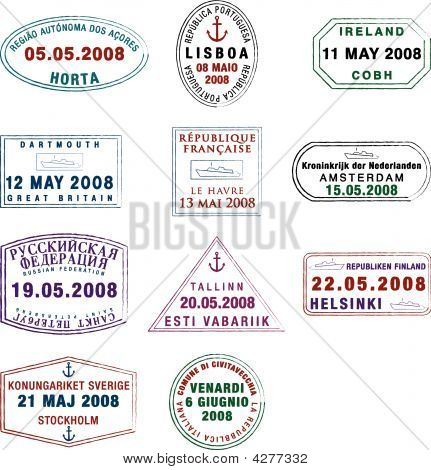 Passport stamps of Europe created by me for my personal collection poster