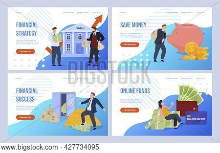 Collection Of Finance Services Landing Page Vector Flat Illustration. Banking Industry Homepage