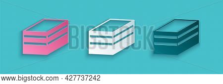 Paper Cut Piece Of Cake Icon Isolated On Blue Background. Happy Birthday. Paper Art Style. Vector