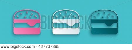 Paper Cut Burger Icon Isolated On Blue Background. Hamburger Icon. Cheeseburger Sandwich Sign. Fast