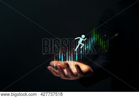 Customer Journey, Business Success Concept. Hand Gesture Supporting Customer,shareholder, Partnershi