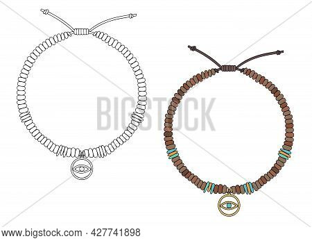 Handmade Jewelry: Amulet Bracelet With An Eye-shaped Pendant. Vector Illustration Isolated On A Whit