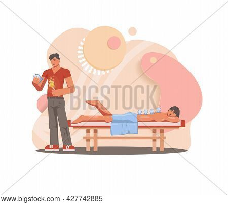 Cupping Therapy Vector Flat Design Illustration. Man Is Lying In Underwear With Cups Placed On His B