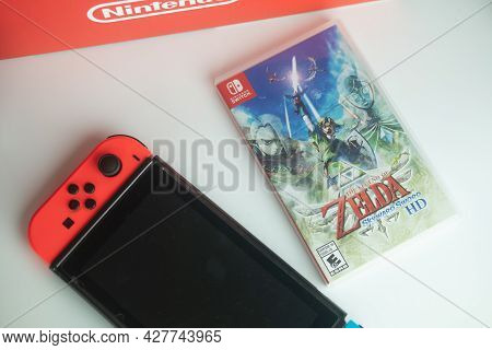 Samut Prakan, Thailand - July 24, 2021 : A Box Of The Nintendo Switch Video Game