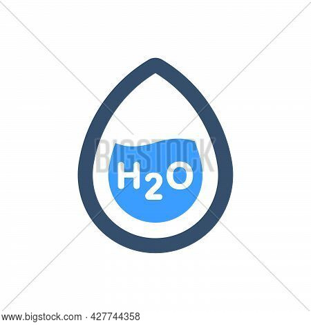 H2o Formula Icon. Meticulously Designed Vector Eps File.
