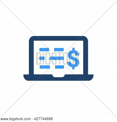 Online Financial Statement Icon. Meticulously Designed Vector Eps File.