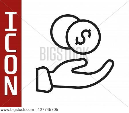 Black Line Donation Hand With Money Icon Isolated On White Background. Hand Give Money As Donation S