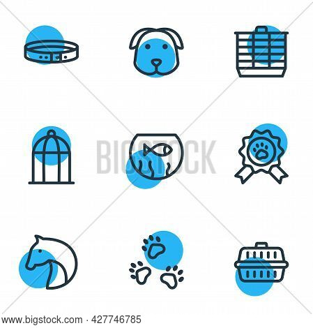 Vector Illustration Of 9 Fauna Icons Line Style. Editable Set Of Fishbowl, Transport Box, Hamster Ca