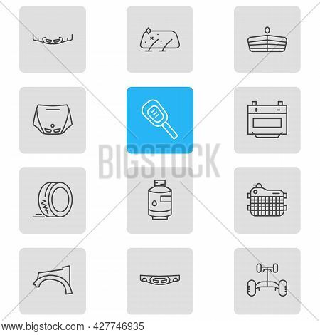 Vector Illustration Of 12 Vehicle Icons Line Style. Editable Set Of Header Panel, Car Key, Fenders A