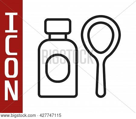 Black Line Soap Bubbles Bottle Icon Isolated On White Background. Blowing Bubbles Soap Wand Bottle.