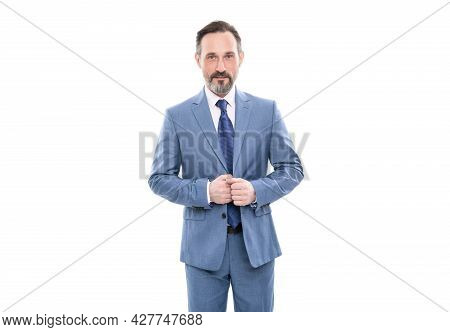 Mature Grizzled Employee In Businesslike Suit Isolated On White, Business Executive