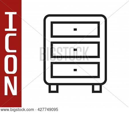 Black Line Archive Papers Drawer Icon Isolated On White Background. Drawer With Documents. File Cabi
