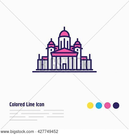 Illustration Of Helinski Cathedral Icon Colored Line. Beautiful Culture Element Also Can Be Used As