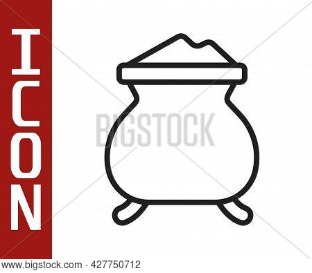 Black Line Molten Gold Being Poured Icon Isolated On White Background. Molten Metal Poured From Ladl