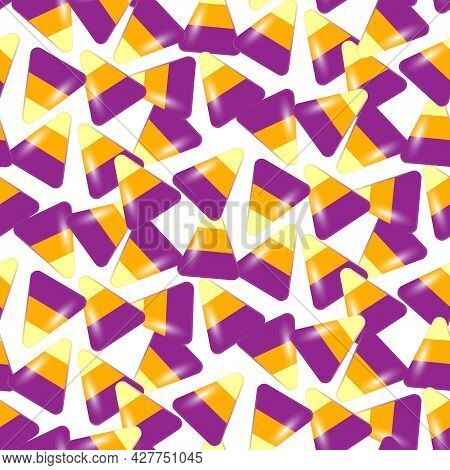 Festive Background With Halloween Corn Sweets On A White Background. Festive Candy Corn Seamless Pat